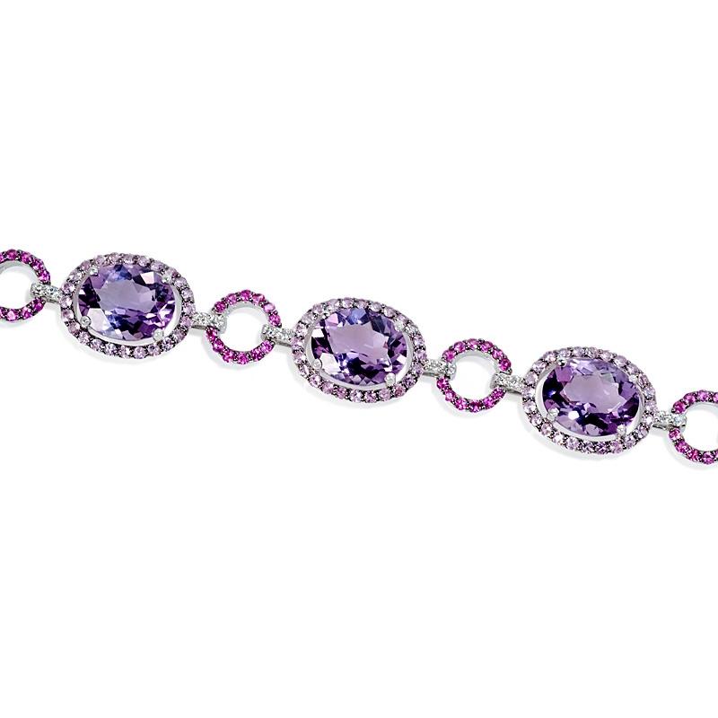 36ct Diamond Pink Sapphire And Purple Amethyst 18k White