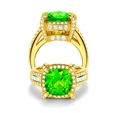 1.45ct Charles Krypell 18K Yellow Gold Peridot and Diamond Ring