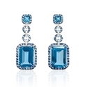 Diamond, Blue Sapphire and Blue Topaz 18k White Gold and Black Rhodium Dangle Earrings