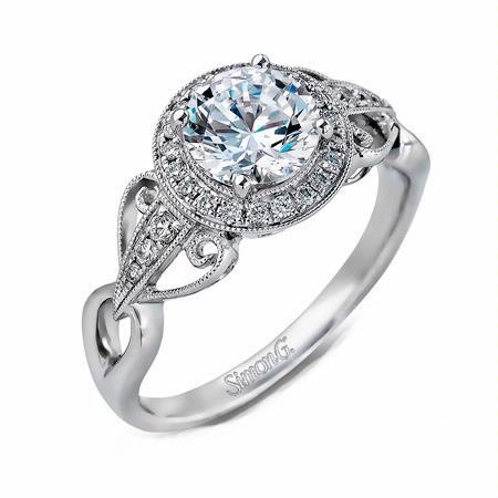 Simon G Diamond Antique Style 18k White Gold Halo Engagement Ring Setting