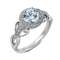 Simon G Diamond Antique Style 18k White Gold Halo Engagement Ring Setting