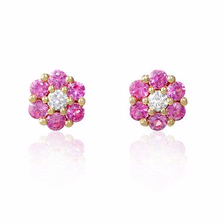 Diamond and Pink Sapphire 18k Rose Gold Cluster Flower Earrings