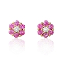 Diamond and Pink Sapphire 18k Rose Gold Cluster Earrings
