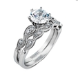 .25ct Simon G Diamond Antique Style 18k White Gold Engagement Ring Setting and Wedding Band Set