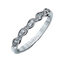 Simon G Diamond Antique Style 18k White Gold Wedding Band Ring