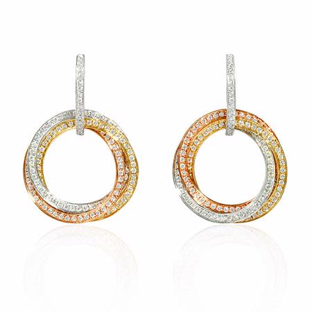Diamond 18k Three Tone Gold Dangle Earrings