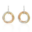 1.83ct Diamond 18k Three Tone Gold Dangle Earrings
