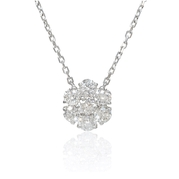 Diamond 14k White Gold Flower Pendant Necklace