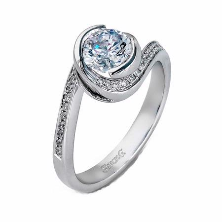 Simon G Diamond 18k White Gold Engagement Ring Setting
