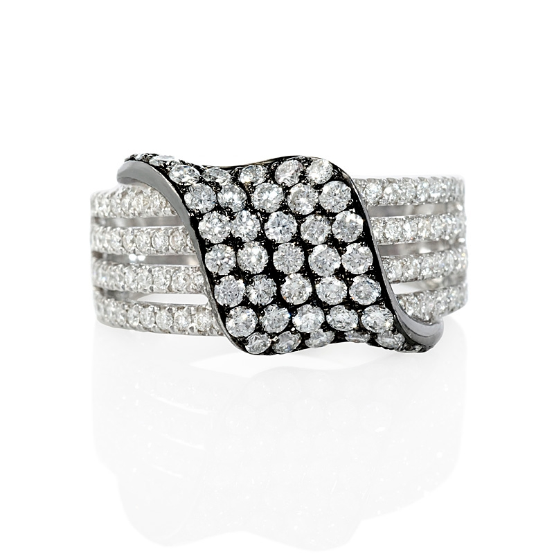 diamond 18k white gold and black rhodium right hand