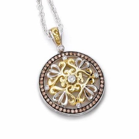 Charles Krypell 18k Yellow Gold and Sterling Silver Brown and White Diamond Pendant Necklace
