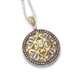 1.13ct Charles Krypell 18k Yellow Gold and Sterling Silver Brown and White Diamond Pendant Necklace