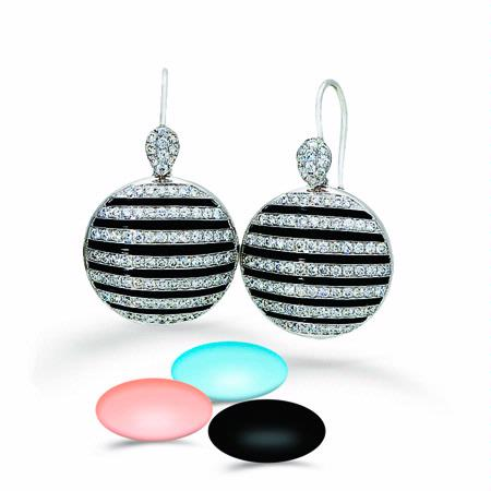 Simon G Diamond, Coral, Turquoise and Onyx 18k White Gold Interchangeable Dangle Earrings