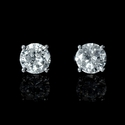 Diamond 1.05 Carats 14k White Gold Stud Earrings