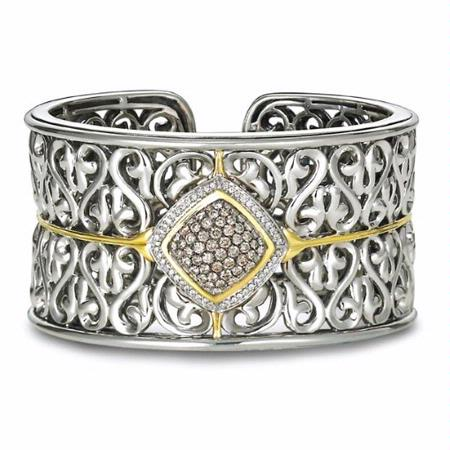 Charles Krypell 18k Yellow Gold and Sterling Silver Brown and White Diamond Cuff Bracelet