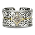 1.65ct Charles Krypell 18k Yellow Gold and Sterling Silver Brown and White Diamond Cuff Bracelet