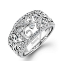 Simon G Diamond Antique Style 18k White Gold Ring