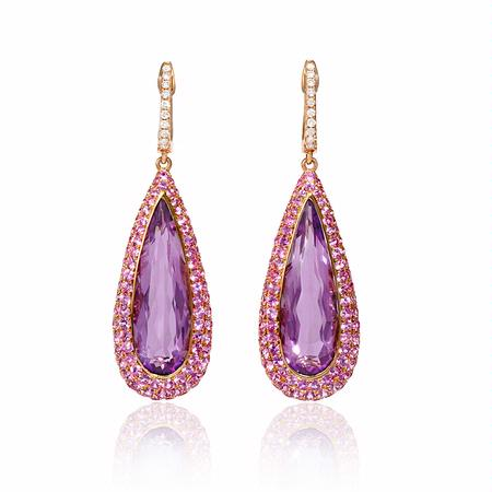18ct Diamond Pink Shire And Purple Amethyst 18k Rose Gold Dangle Earrings