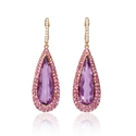Diamond, Pink Sapphire and Purple Amethyst 18k Rose Gold Dangle Earrings