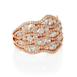 2.87ct Diamond 18k Rose Gold Cluster Wave Ring