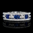 .42ct Diamond and Oval Blue Sapphire 18k White Gold Three Row Ring