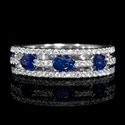 Diamond and Oval Blue Sapphire 18k White Gold Three Row Ring