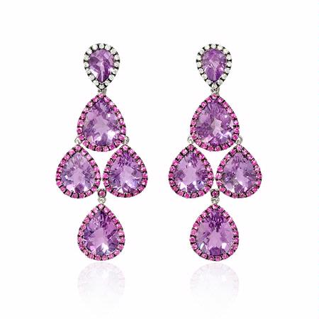 Diamond, Pink Sapphire and Purple Amethyst 18k White Gold and Black Rhodium Dangle Earrings