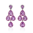Diamond,Pink Sapphire and Purple Amethyst 18k White Gold and Black Rhodium Dangle Earrings