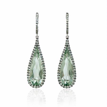 Green Sapphire and Green Amethyst 18k White Gold and Black Rhodium Dangle Earrings