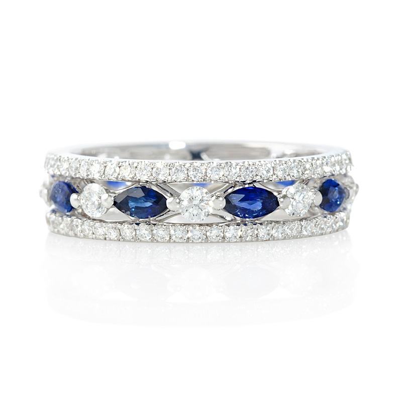 93ct Diamond and Blue Sapphire 18k White Gold Eternity Ring
