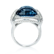 .91ct Diamond and London Blue Topaz 18k White Gold Ring