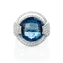 Diamond and London Blue Topaz 18k White Gold Ring