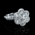 2.15ct Diamond 18k White Gold Scallop Edge Flower Ring