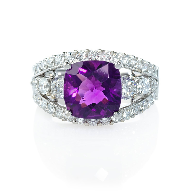 1 39ct and purple amethyst antique style 18k white