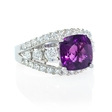 1.39ct Diamond and Purple Amethyst Antique Style 18k White Gold Ring