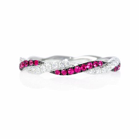 Diamond and Ruby 18k White Gold and Black Rhodium Ring