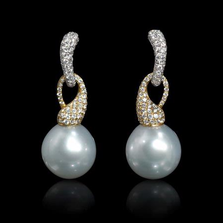 Diamond and Pearl 18k Two Tone Gold Dangle Earrings