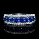 Diamond and Blue Sapphire 18k White Gold and Black Rhodium Three Row Ring