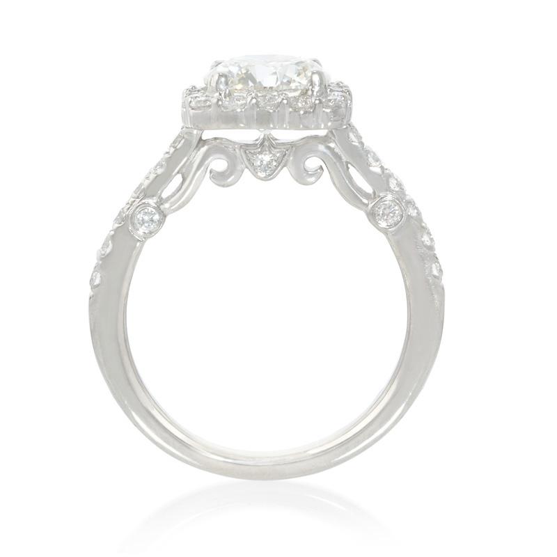 59ct Diamond Platinum Halo Engagement Ring Setting
