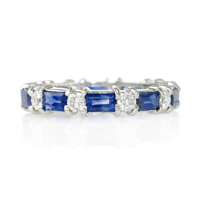 60ct Diamond And Blue Sapphire 18k White Gold Eternity Ring