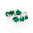 .29ct Diamond and Emerald 18k White Gold Ring