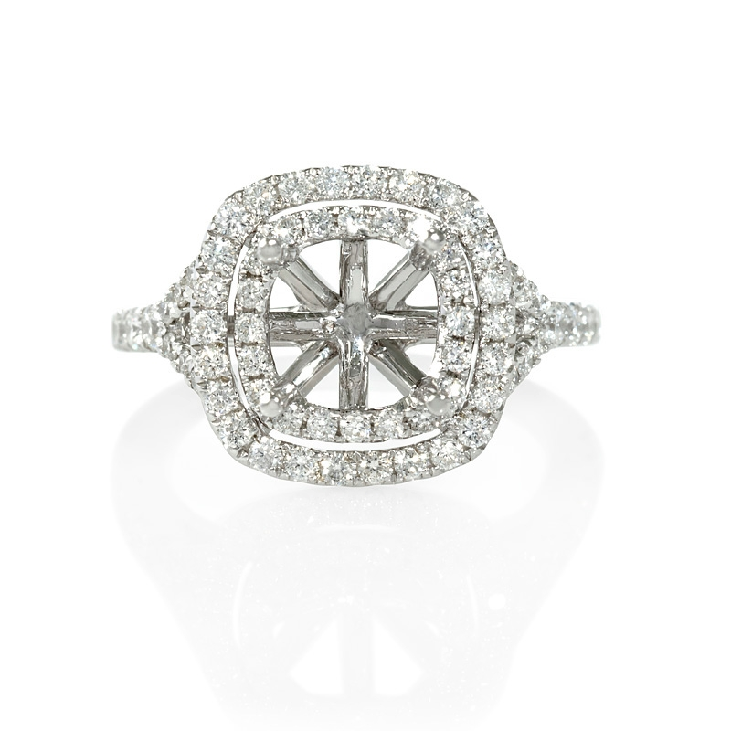 88ct Diamond 18k White Gold Double Halo Engagement Ring Setting