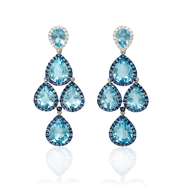 32ct Diamond Blue Shire And Topaz 18k White Gold Black Rhodium Dangle Earrings