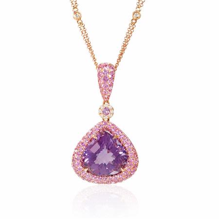 Diamond, Pink Sapphire and Purple Amethyst 18k Rose Gold Pendant