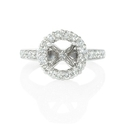 Diamond Antique Style Platinum Halo Engagement Ring Setting