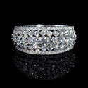 Diamond 18k White Gold Five Row Ring