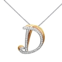 Simon G Diamond 18k Three Tone Gold D Initial Pendant Necklace