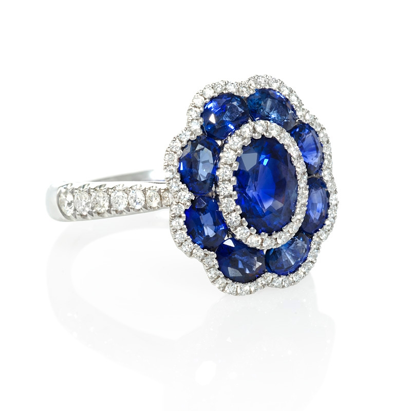 41ct Diamond And Blue Sapphire 18k White Gold Flower Ring