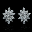 13.46ct Diamond 18k White Gold Cluster Earrings