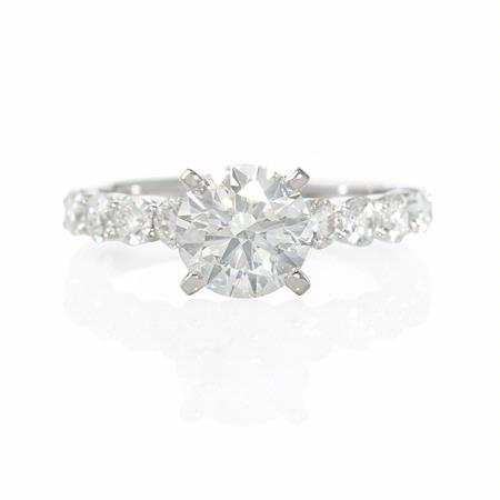 Diamond 18k White Gold Shared Prong Engagement Ring Setting